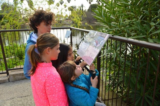 Quatre jeunes enfants regardent un des panneaux du parc Phoenix.