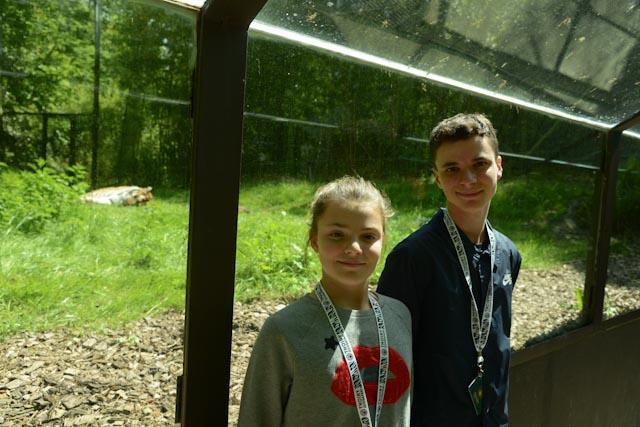 Ambre et Tristan dans le tunnel vitré près de l'enclos des tigres.
