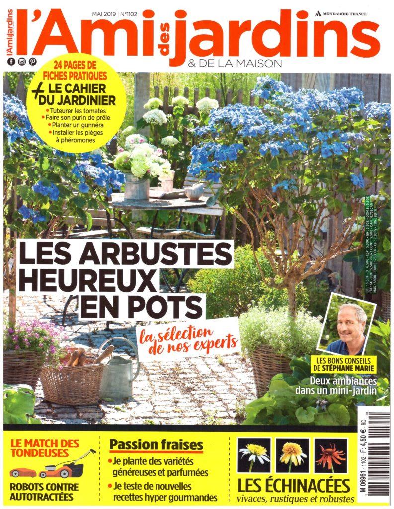 """couverture du magazine """"Ami des jardins et de la maison"""" - juin 2019. Arbustes sur une terrasse."""