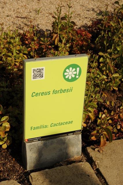 panneau avec le nom de la plante et un flashcode pour en savoir plus...