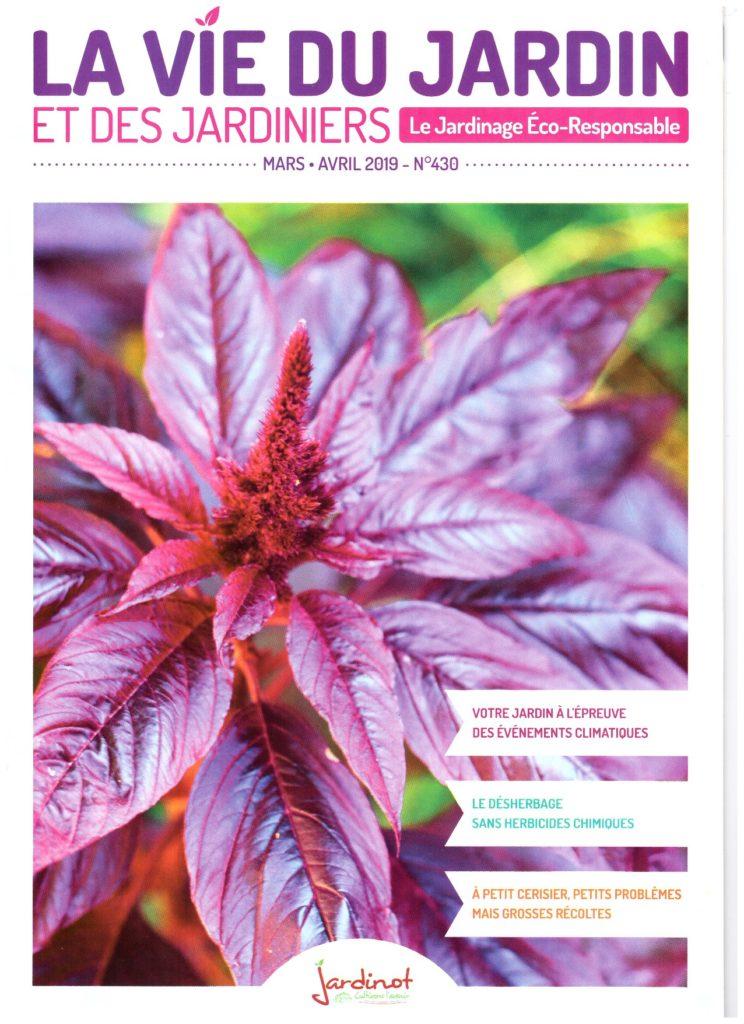 """Couverture du magazine """"La vie du jardin et des jardiniers"""" - mars/avril 2019. Gros plan de fleur d'amarante."""